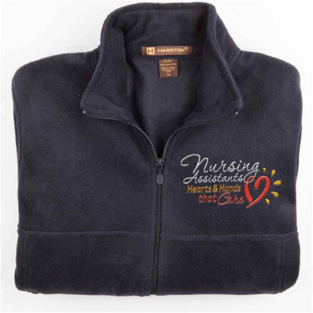 Nursing Assistants: Hearts & Hands That Care Harriton® Fleece Full-Zip Men's Jacket - Personalization Available