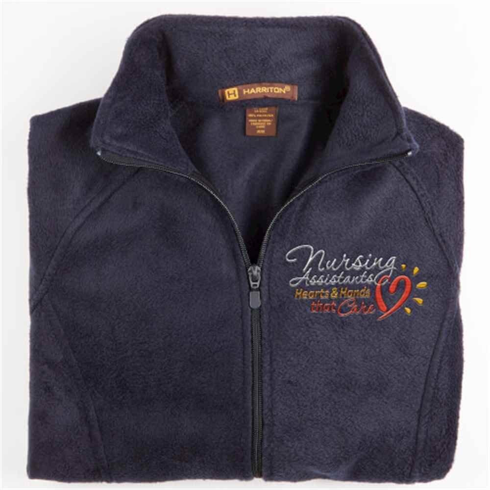 Nursing Assistants: Hearts & Hands That Care Harriton ® Fleece Full-Zip Women's Jacket - Personalization Available