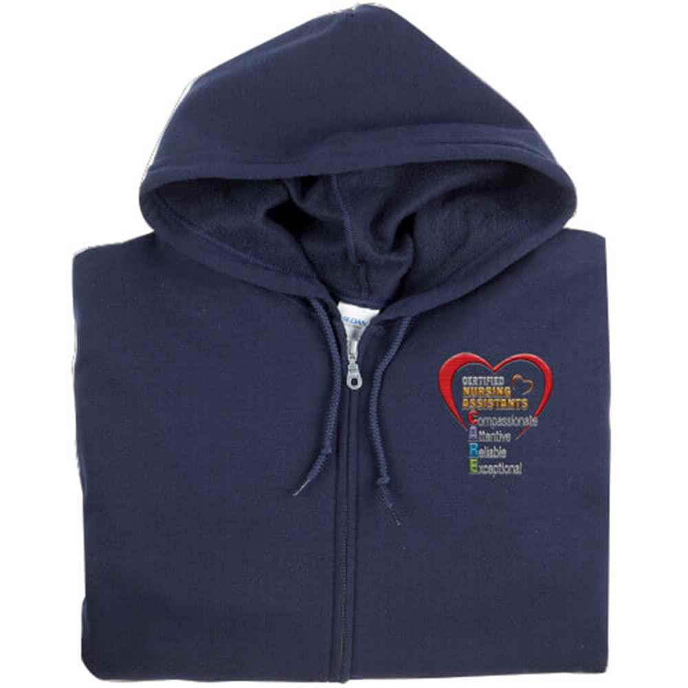 Certified Nursing Assistants: CARE Acronym Gildan® Full-Zip Women's Hooded Sweatshirt - Personalization Available