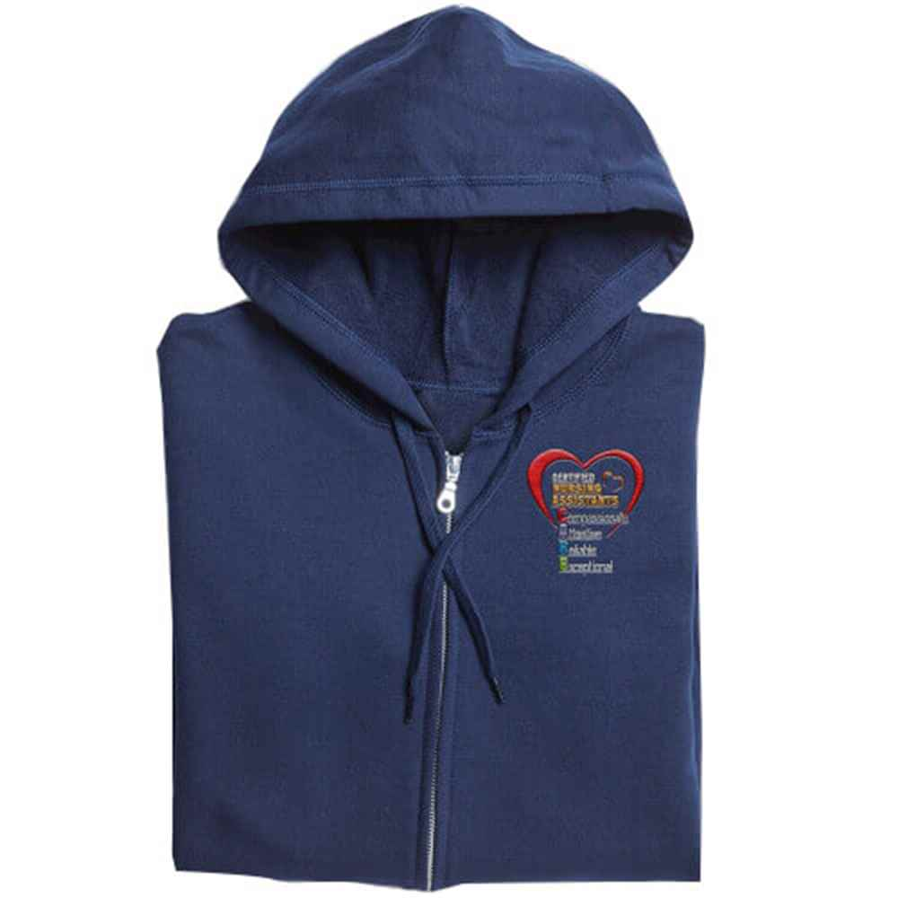 Certified Nursing Assistants: CARE Acronym Gildan® Full-Zip Men's Hooded Sweatshirt - Personalization Available