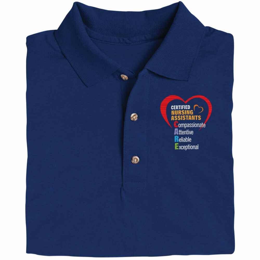 Certified Nursing Assistants: CARE Acronym  Gildan® DryBlend Jersey Polo - Personalization Optional