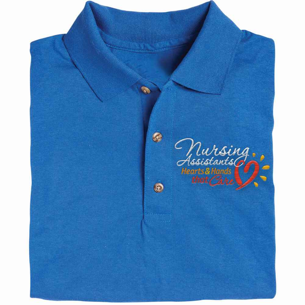 Nursing Assistants: Hearts & Hands That Care  Gildan® DryBlend Jersey Polo - Personalization Available