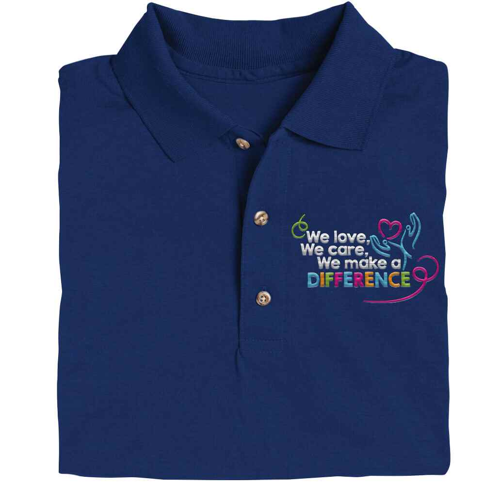 We Love, We Care, We Make A Difference Gildan® DryBlend Jersey Polo - Personalization Available