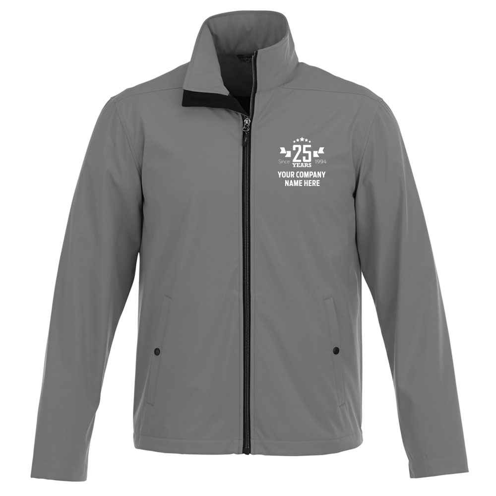 25th Anniversary Elevate® Men's Karmine Soft Shell Jacket With Additional Custom Message Inside