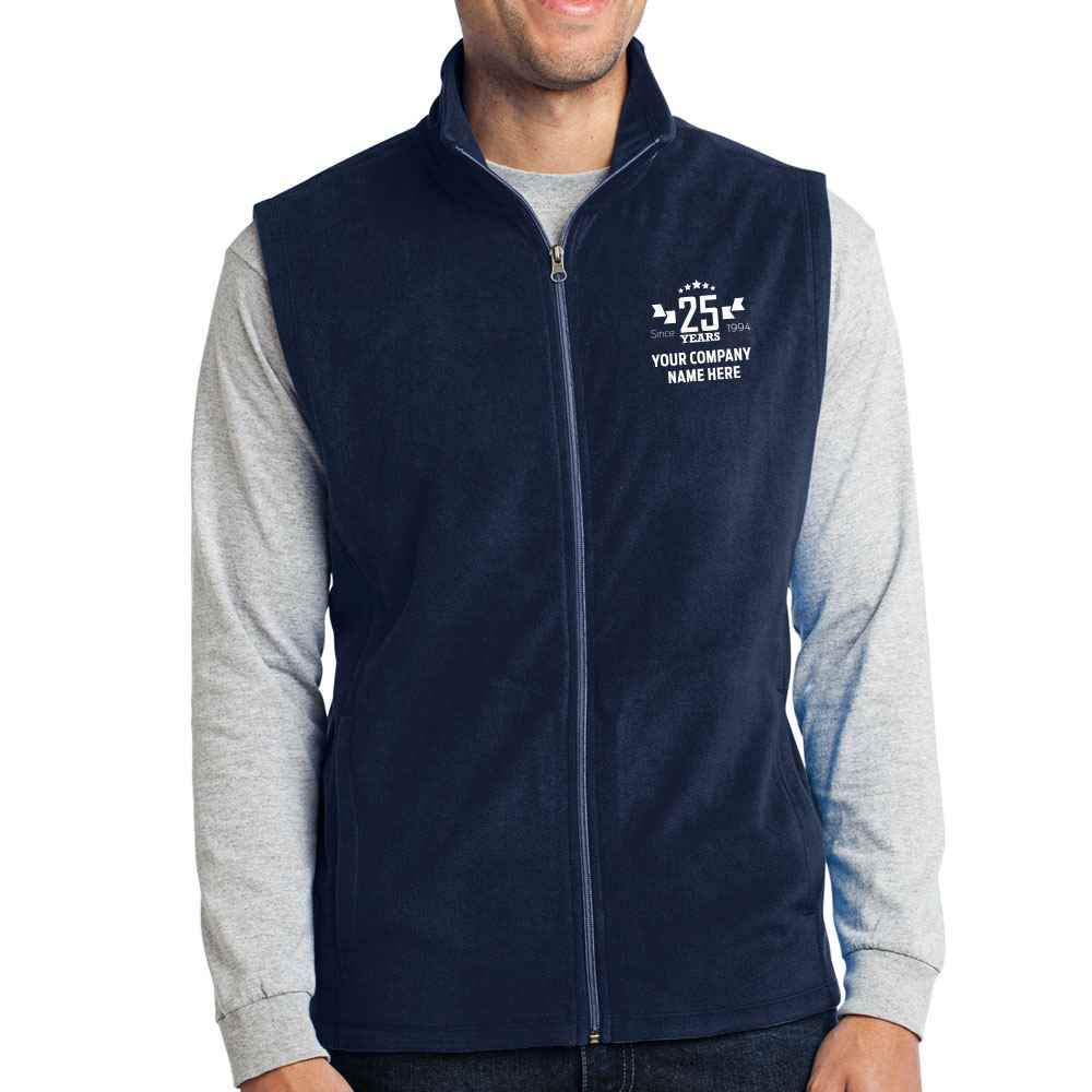 25th Anniversary Port Authority® Men's Full-Zip Microfleece Vest - Personalization Available