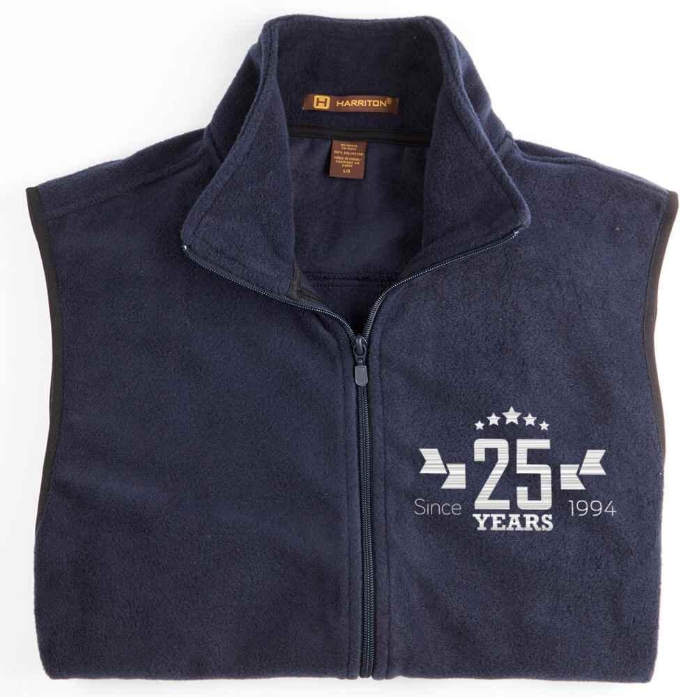 25th Anniversary Harriton® Adult Full-Zip Fleece Vest - Personalization Available