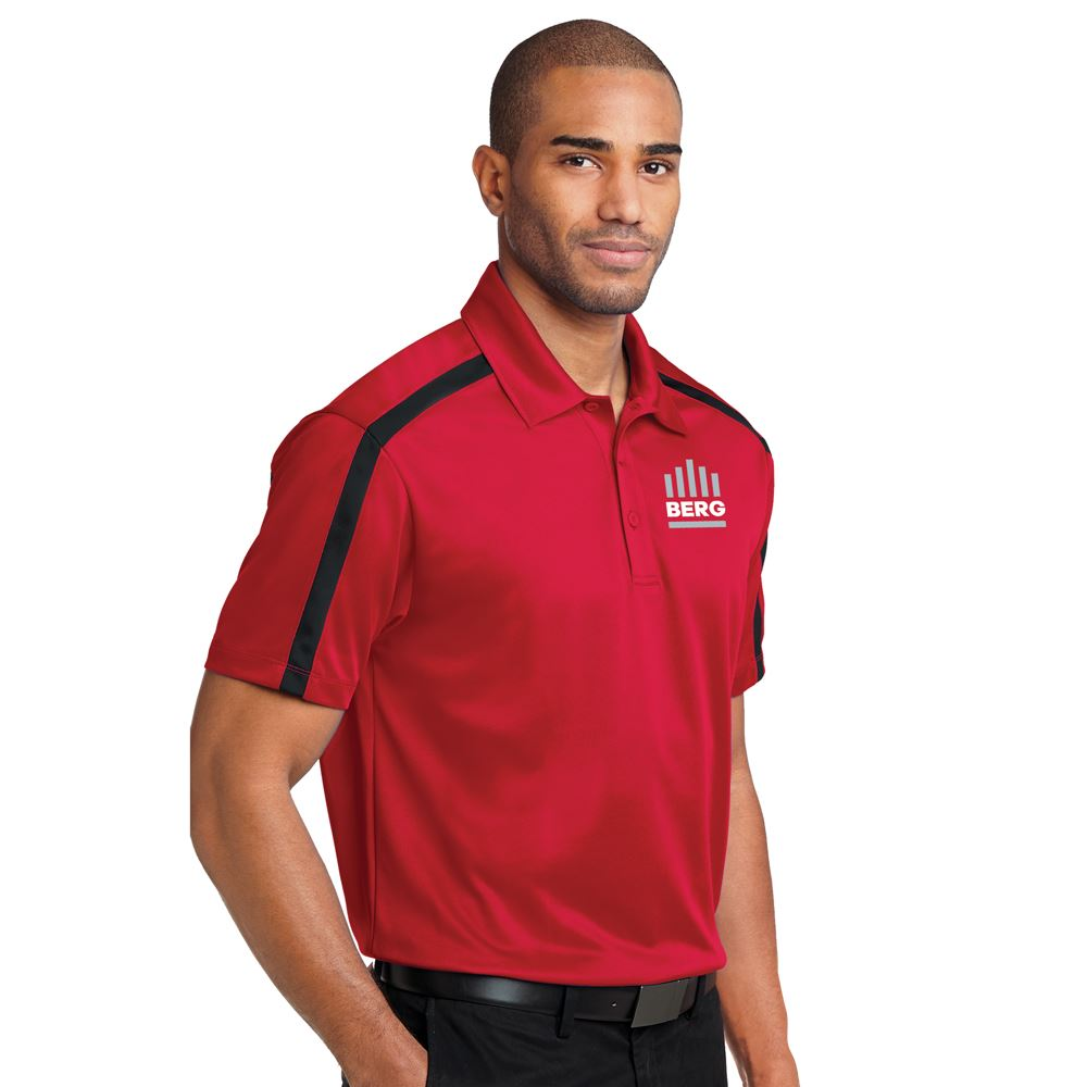 Port Authority® Silk Touch™ Men's Performance Colorblock Stripe Polo- Embroidered Personalization Available