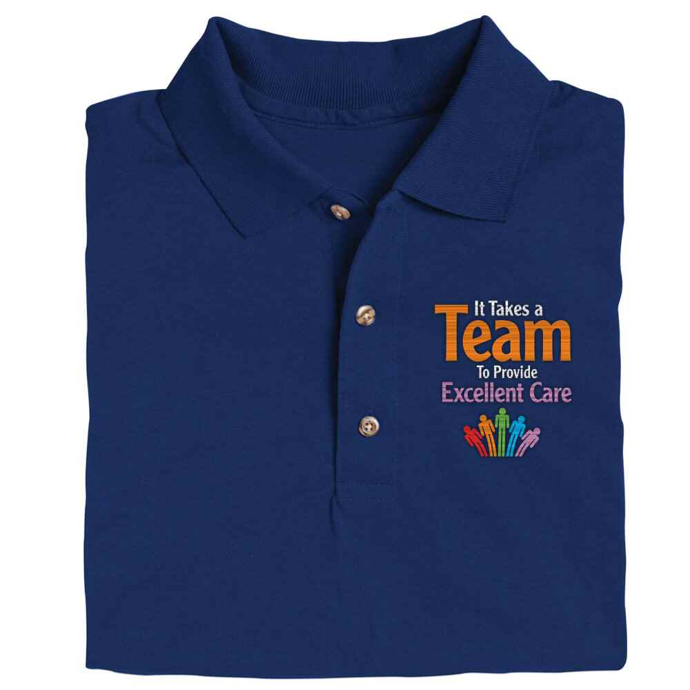 It Takes A Team To Provide Excellent Care Gildan® Dryblend Jersey Polo Shirt - Personalization Optional