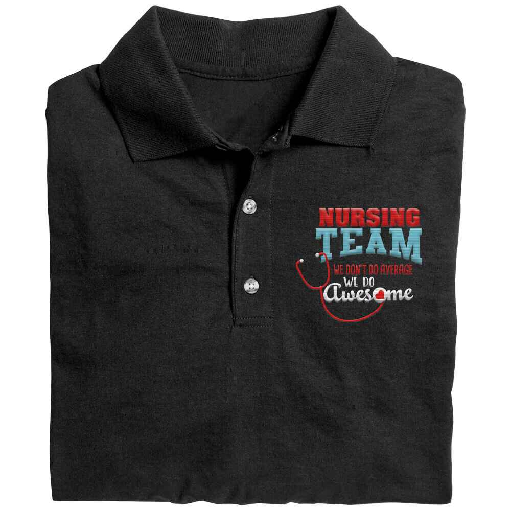 Nursing Team: We Don't Do Average, We Do Awesome Gildan® DryBlend Jersey Polo Shirt - Personalization Available
