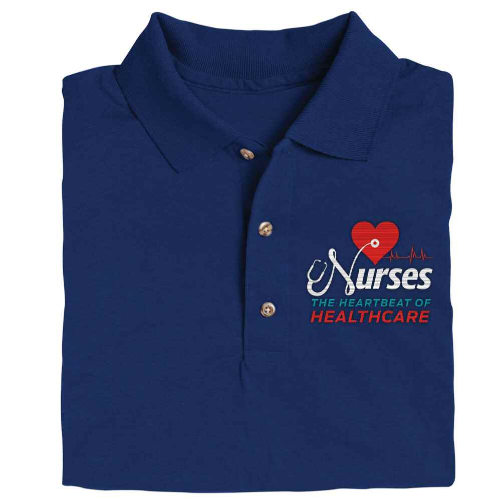 Nurses: The Heartbeat Of Healthcare Gildan® Dryblend Jersey Polo Shirt - Personalization Available
