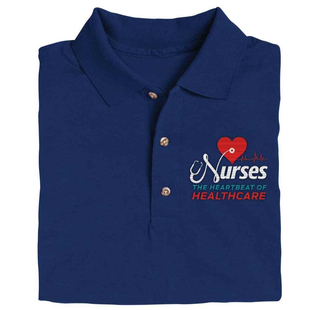 Nurses: The Heartbeat Of Healthcare Gildan® Dryblend Jersey Polo Shirt - Personalization Optional