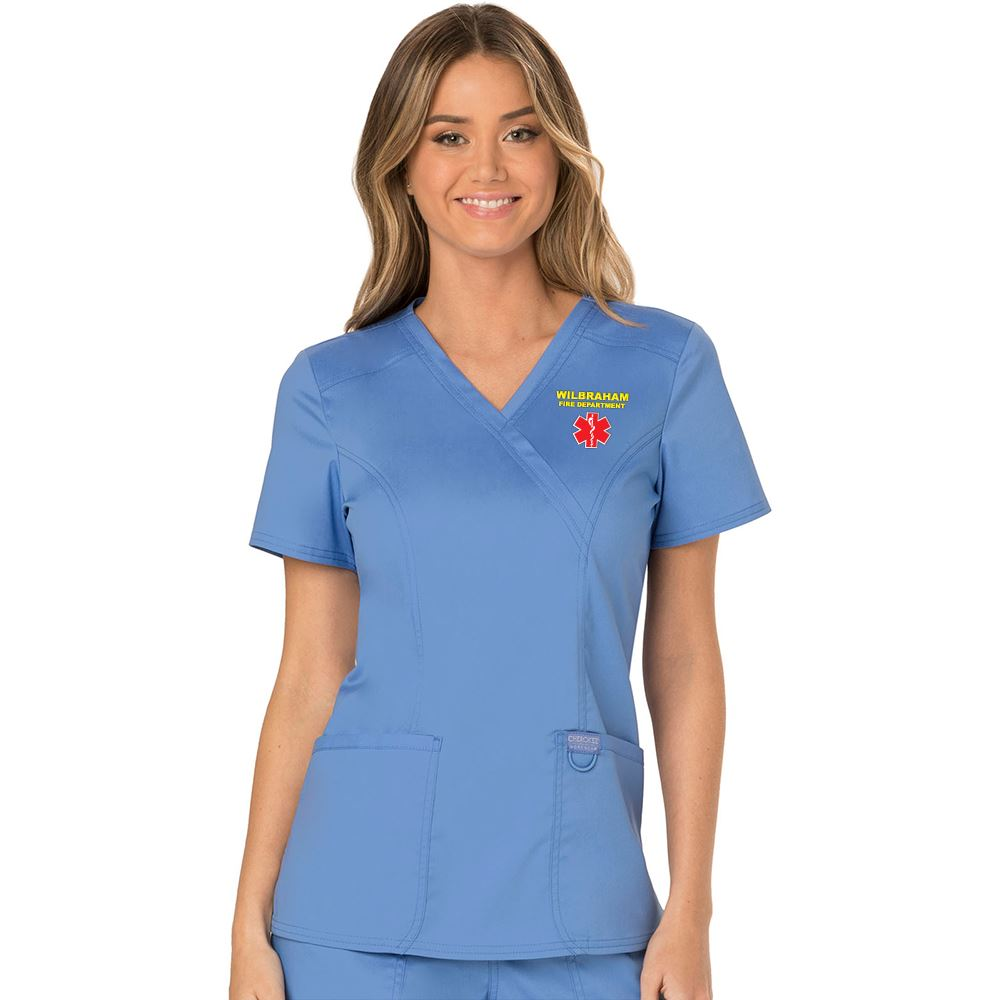 Cherokee® Workwear Women's Revolution Mock Wrap Scrub Top - Embroidery Personalization Available