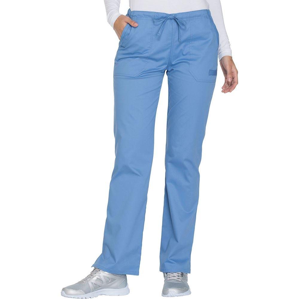 Cherokee Workwear Core Stretch Women's Mid Rise Straight Leg 5-Pocket Drawstring Scrub Pant