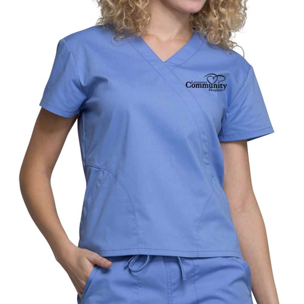Cherokee Workwear Professionals Women's Mock Wrap Scrub Top - Embroidery Personalization Available
