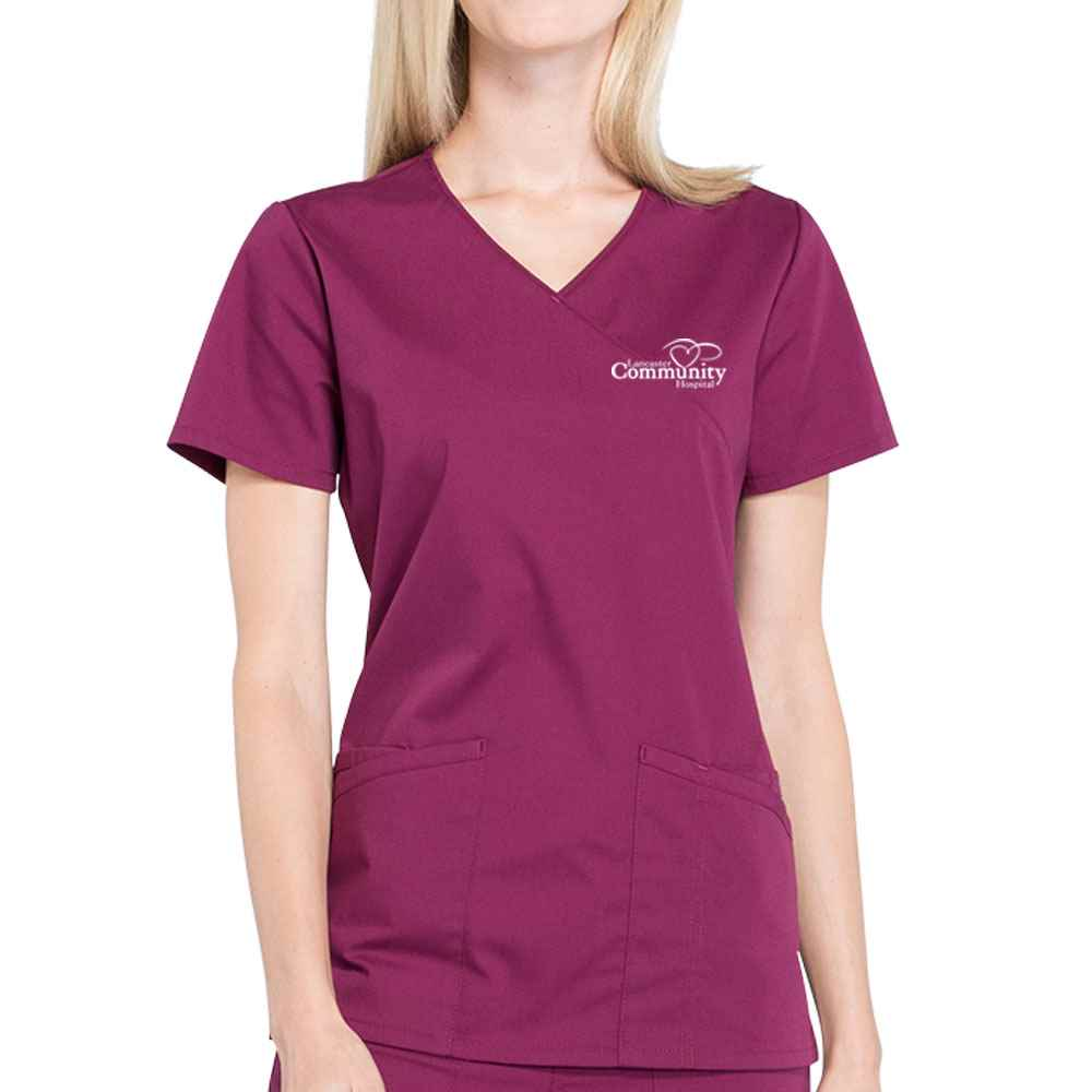 Cherokee® Workwear Professionals Women's Mock Wrap Scrub Top - Embroidered Personalization Available