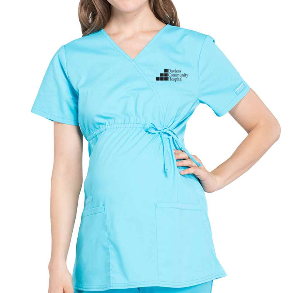 Cherokee® Workwear Professionals Women's Maternity 3 Pocket Mock Wrap Top - Embroidered Personalization Available