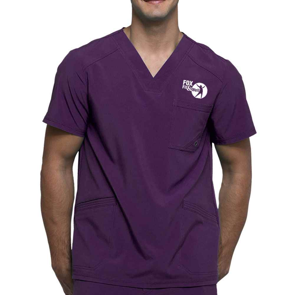 Cherokee® Men's Infinity V-Neck Scrub Top with Microbial Additive - Embroidered Personalization Available