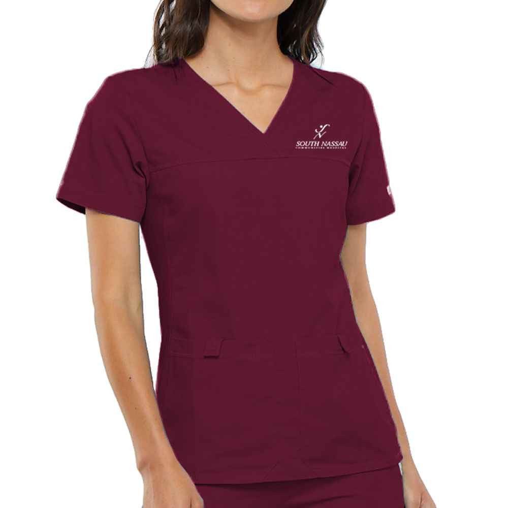 Cherokee® Women's Flexibles V-Neck Knit Panel Scrub Top - Embroidery Personalization Available