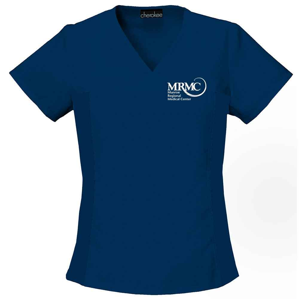 Cherokee® Women's Flexibles V-Neck Knit Panel Top - Personalization Available