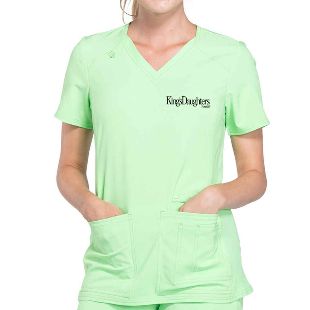 Cherokee® Women's iFlex V-Neck Knit Panel Scrub Top - Embroidered Personalization Available