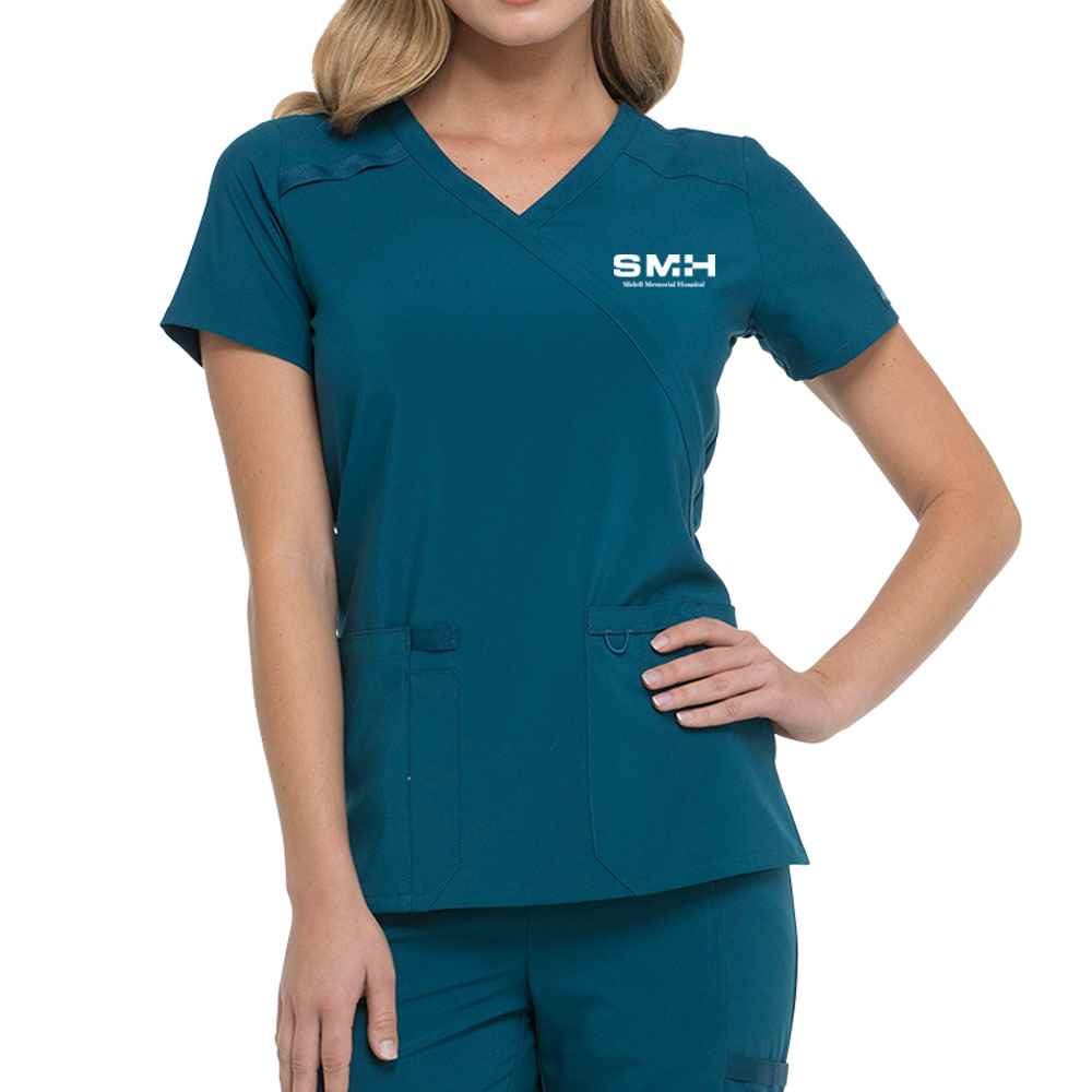 Dickies® Women's EDS Essentials Mock Wrap Scrub Top - Embroidered Personalization Available