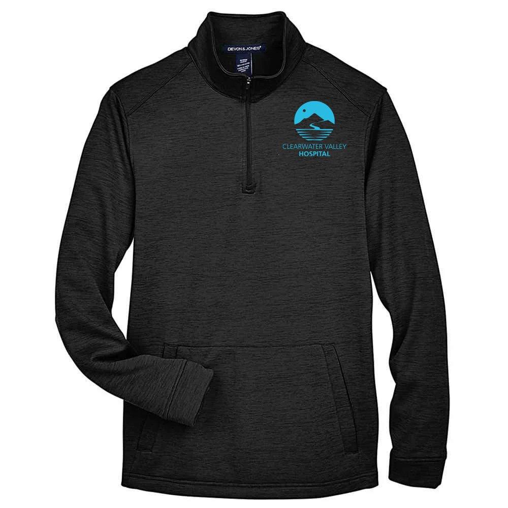 Devon & Jones® Men's Newbury Melange Fleece Quarter-Zip -Embroidery Personalization Available