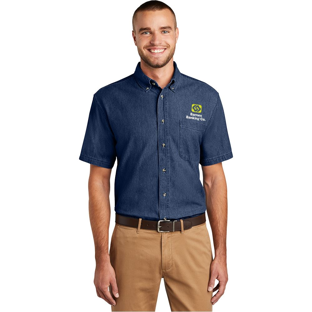 Port & Company® Men's Short Sleeve Value Denim Shirt - Personalization Available