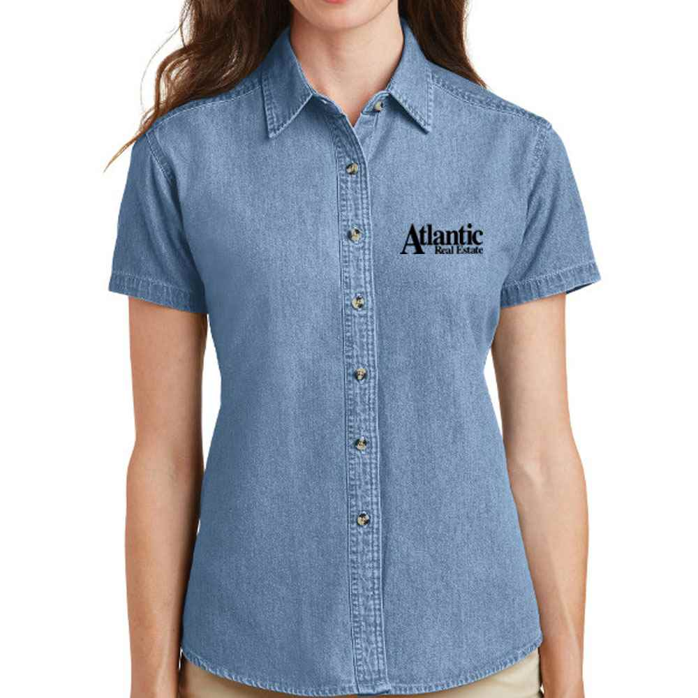 Port & Company® Ladies Short Sleeve Value Denim Shirt - Personalization Available