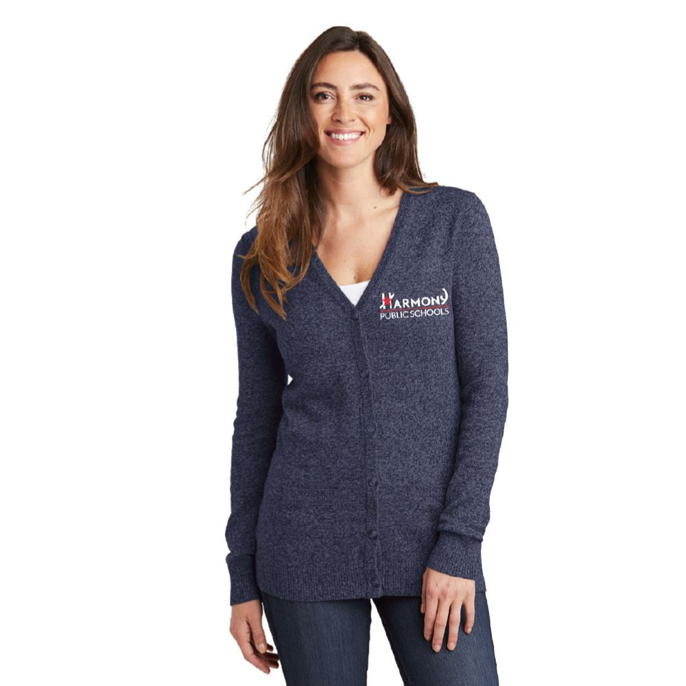 Port Authority® Ladies Marled Cardigan Sweater - Personalization Available