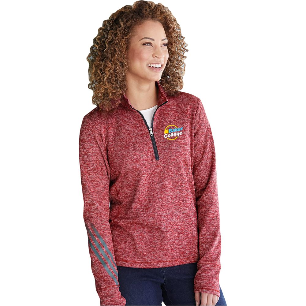 adidas® Women's Brushed Terry Heather Quarter-Zip - Personalization Available