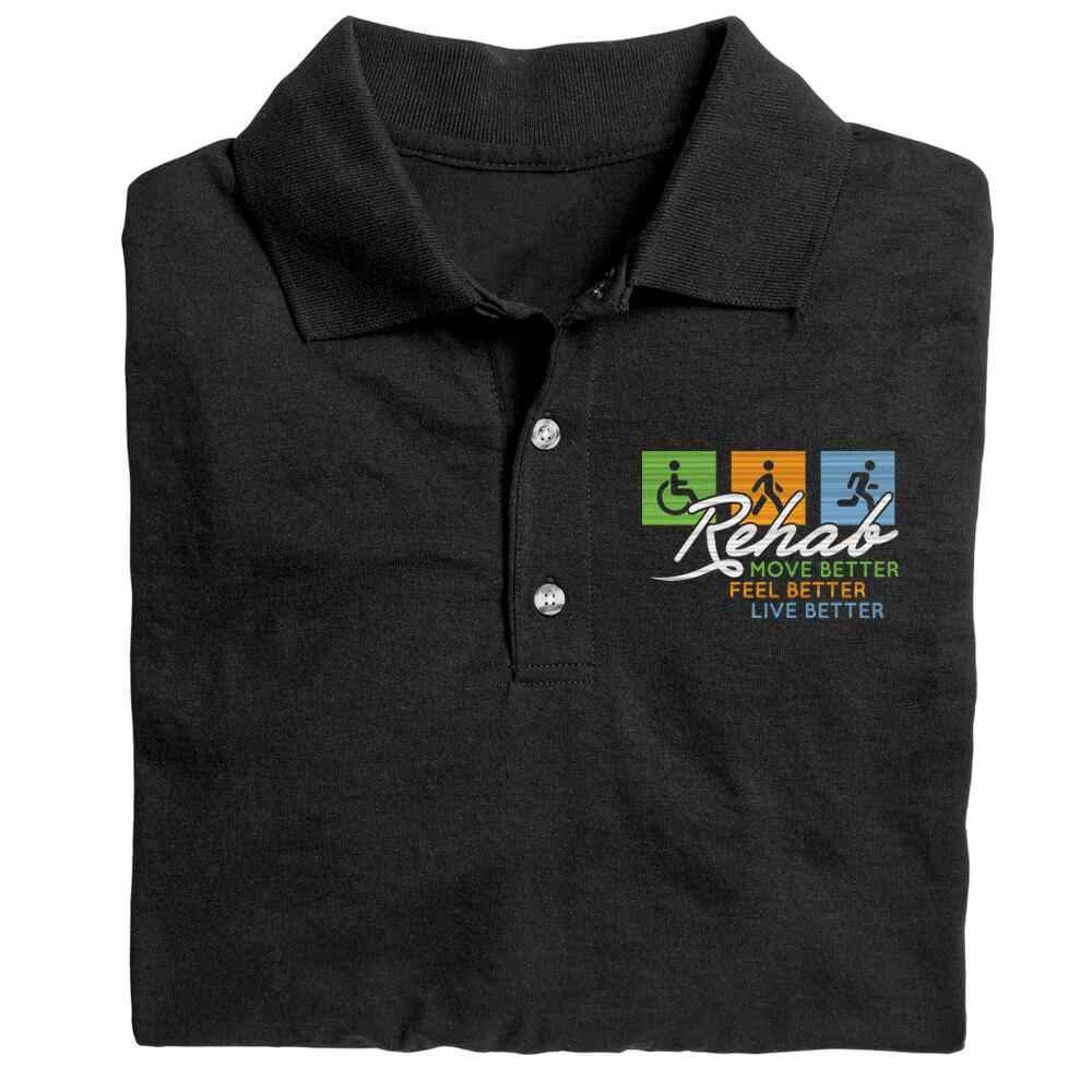 Rehab: Move Better, Feel Better, Live Better Gildan® DryBlend Jersey Polo - Personalization Available