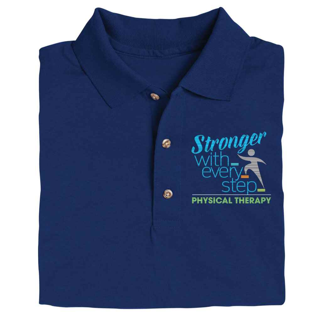 Physical Therapy: Stronger With Every Step Gildan® DryBlend Jersey Polo - Personalization Optional