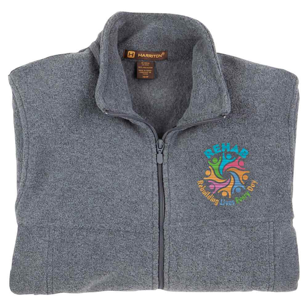 Rehab: Rebuilding Lives Every Day Men's Harriton® Fleece Full-Zip Jacket - Personalization Available