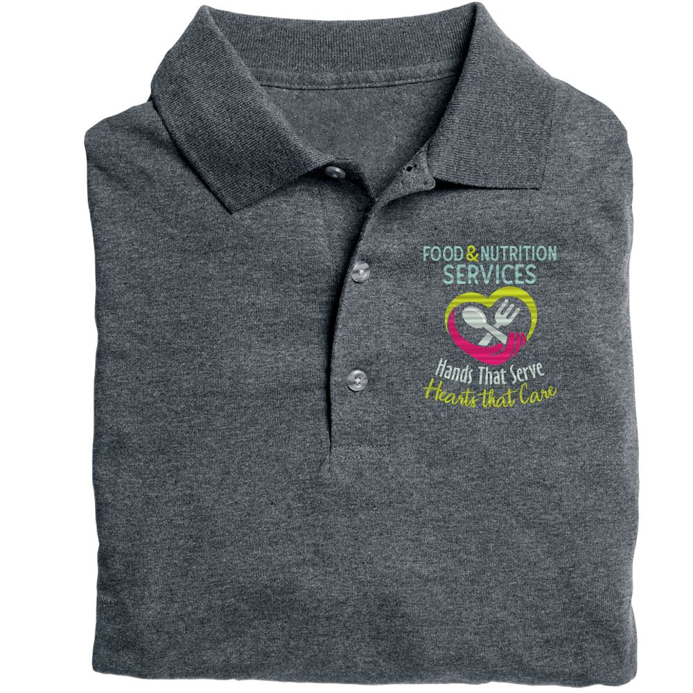 Food & Nutrition Services: Hands That Serve. Hearts That Care Gildan® DryBlend Jersey Polo - Personalization Available