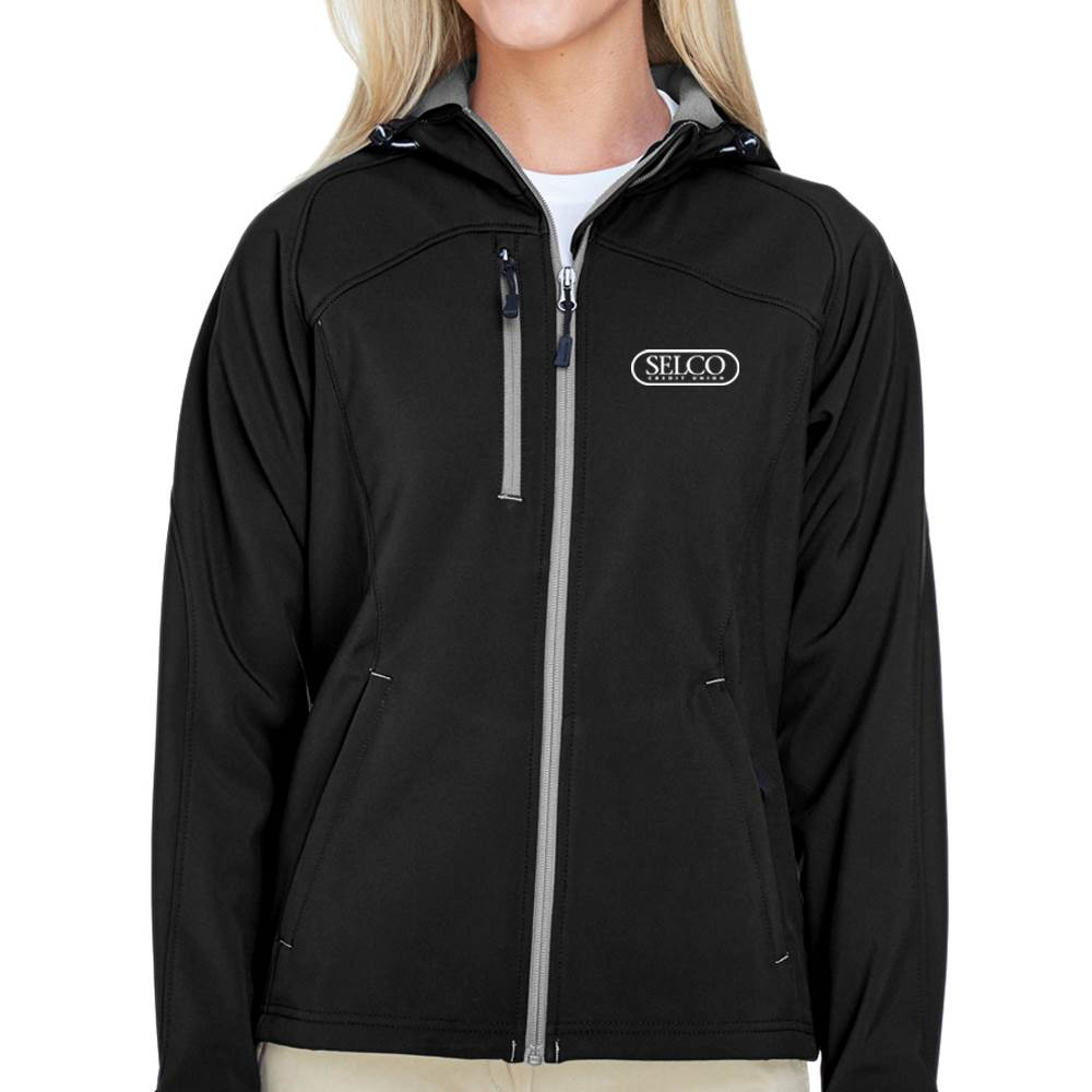 North End® Women's' Prospect Two-Layer Fleece Bonded Soft Shell Hooded Jacket - Personalization Available
