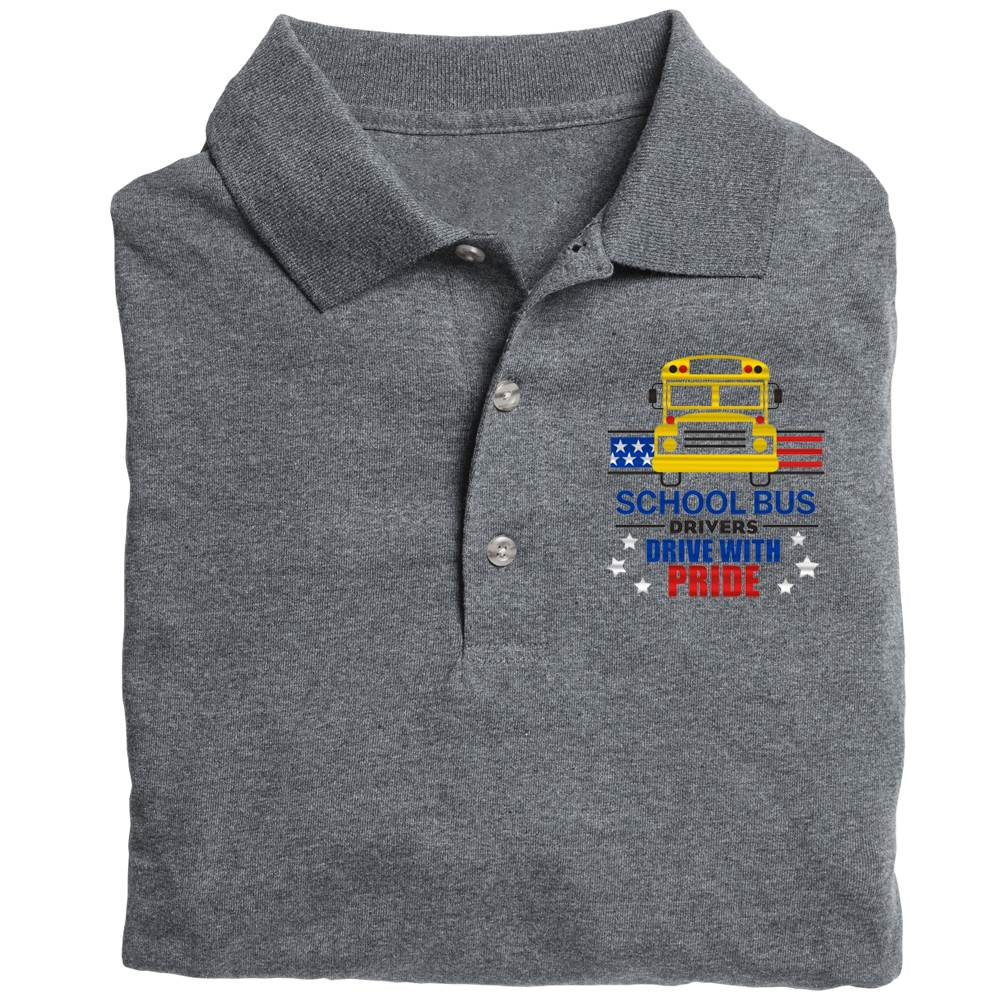 School Bus Drivers Drive With Pride  Gildan® DryBlend Jersey Polo - Personalization Available