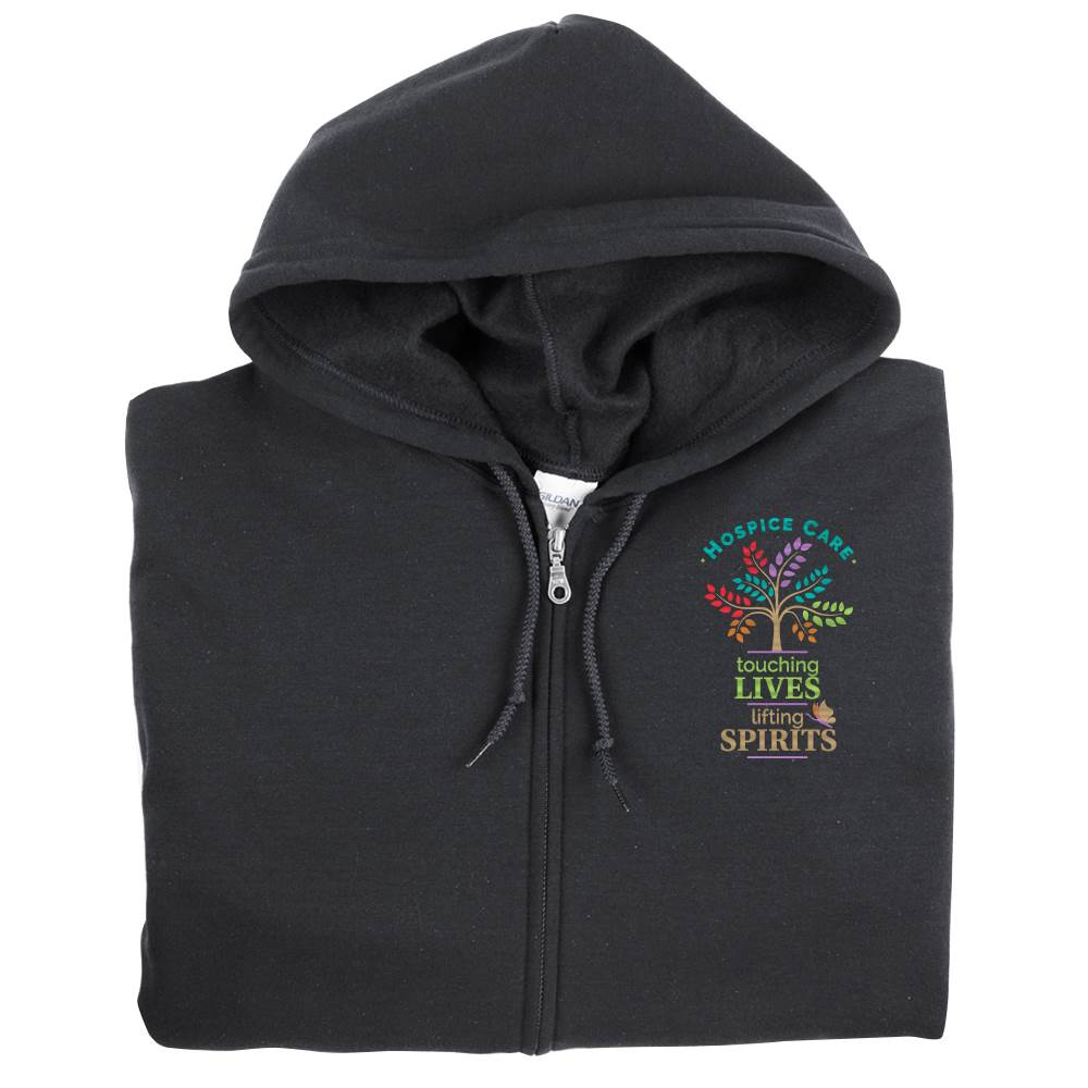 Hospice Care: Touching Lives, Lifting Spirits Gildan® Full-Zip Hooded Sweatshirt - Personalization Available
