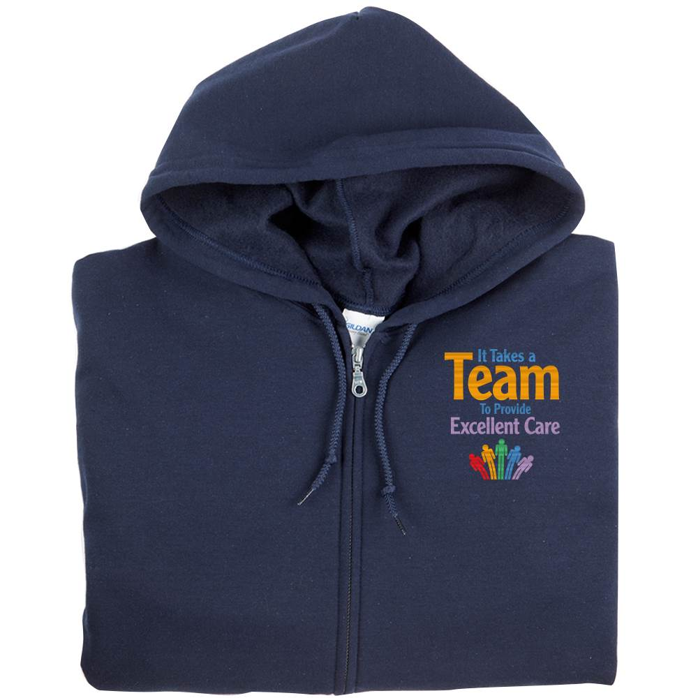 It Takes A Team To Provide Excellent Care Gildan® Full-Zip Hooded Sweatshirt - Personalization Available