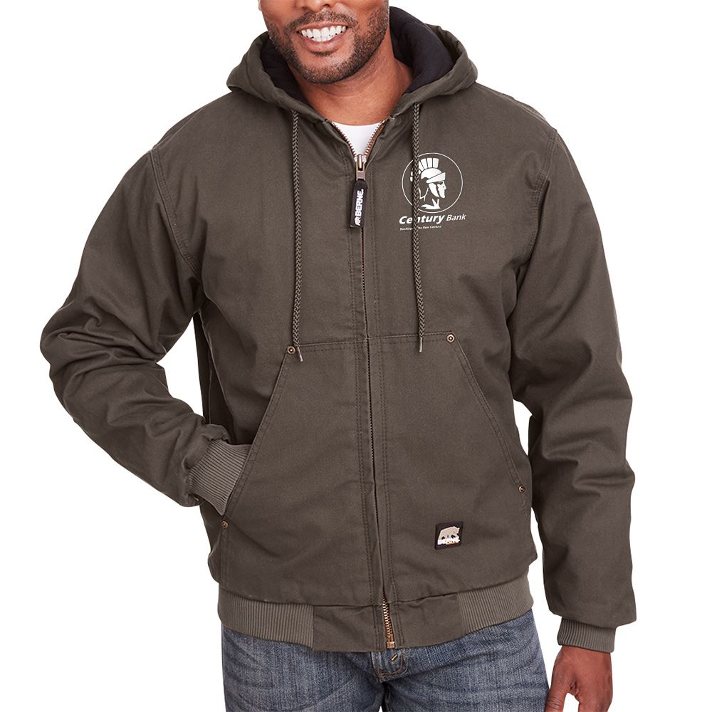Berne Men's Highland Washed Cotton Duck Hooded Jacket - Personalization Available