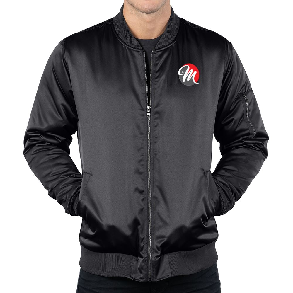 Tri-Mountain® Men's Matte Satin Bomber Jacket - Embroidered Personalization Available