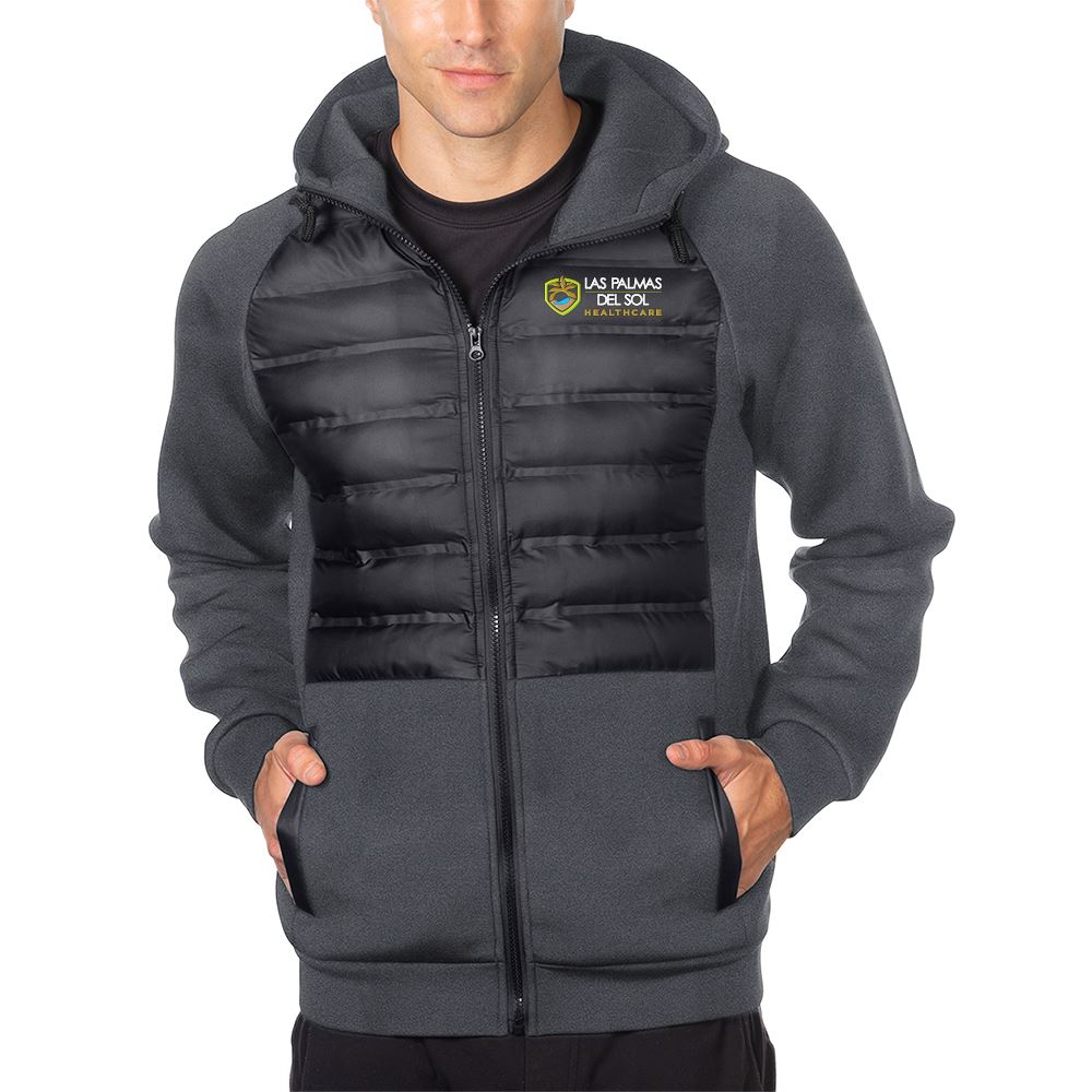 Tri-Mountain® Men's Quilted Layer Knit Hooded Jacket - Personalization Available
