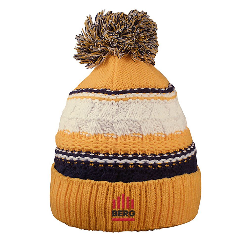 Striped Team Pom Beanie - Personalization Available
