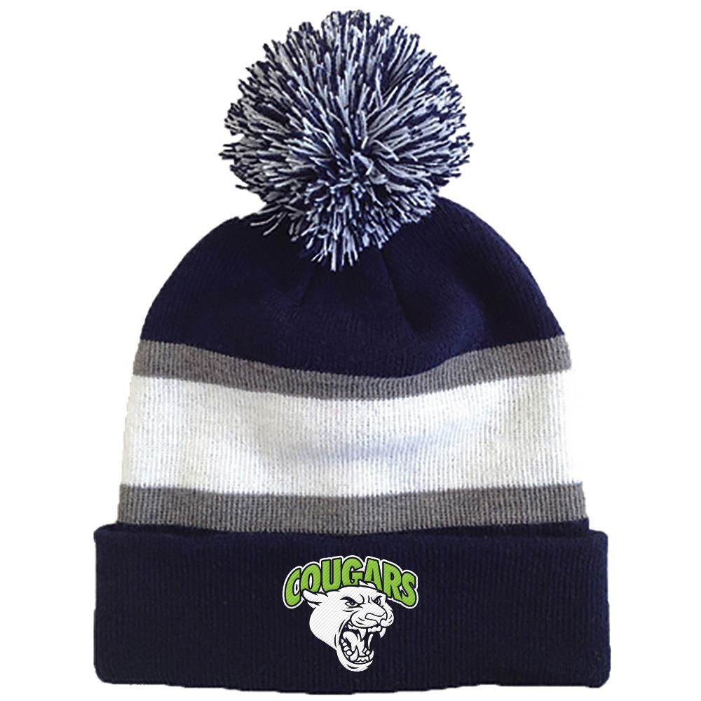 Striped Beanie With Pom - Personalization Available