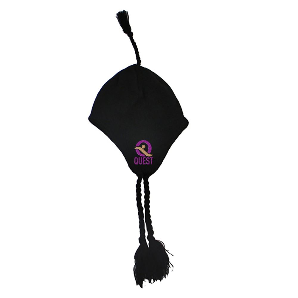 Knit Hat With Ear Flaps And Tassel - Personalization Available