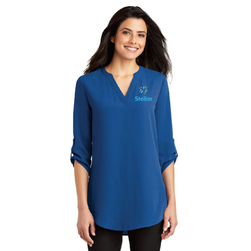 Fashion + Function Collection 3/4 Sleeve Flowy V-Neck Tunic Blouse - Embroidery Personalization Available