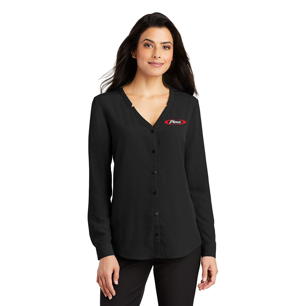 Women's Contemporary Long-Sleeve Button-Front Blouse - Embroidered Personalization Available