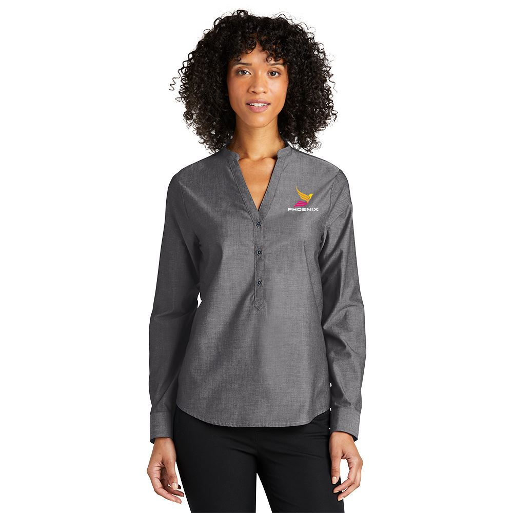 Women's Long-Sleeve Chambray Easy Care Shirt - Embroidered Personalization Available