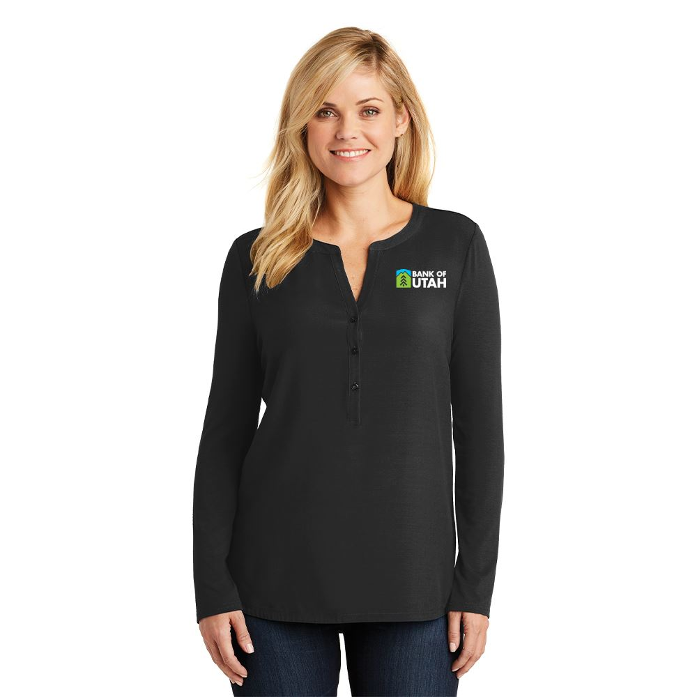 Women's Contemporary Henley Tunic - Embroidered Personalization Available