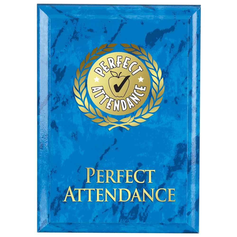 Perfect Attendance Blue Marble Award Plaque