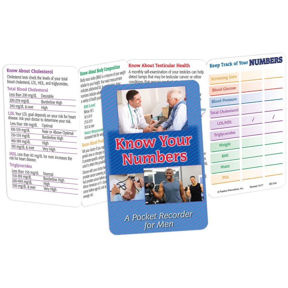 Know Your Numbers for Men Pocket Pal - Personalization Available